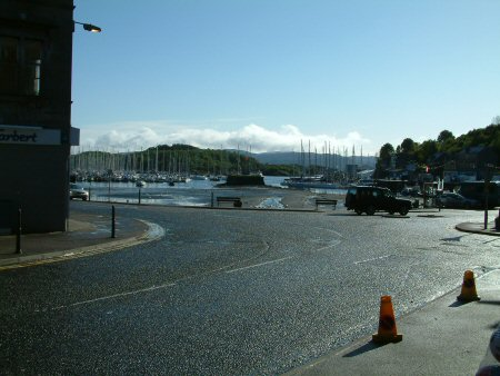 The view of Tarbert harbour from the Campbeltown road