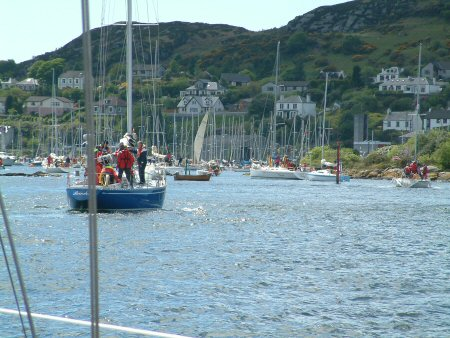 A queue of traffic into the entrance to Tarbert harbour